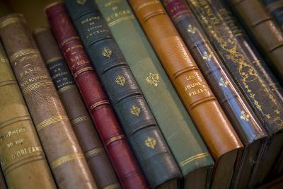 Old French Books at a Bookstore in Galerie Vivienne, Paris, France-Brian Jannsen-Photographic Print