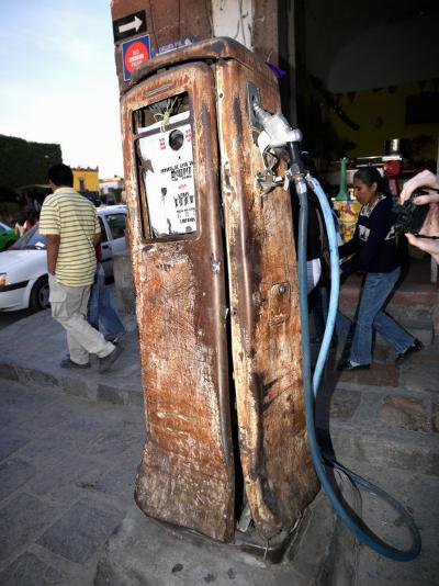 Old Fuel Pump Along a Street, San Francisco Street, San Miguel De Allende, Guanajuato, Mexico--Photographic Print