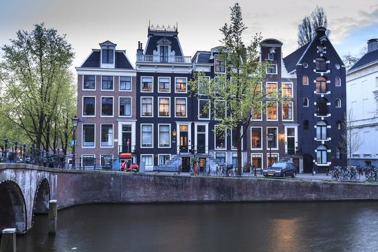 Old Gabled Houses Line the Keizersgracht Canal at Dusk, Amsterdam, Netherlands, Europe-Amanda Hall-Photographic Print