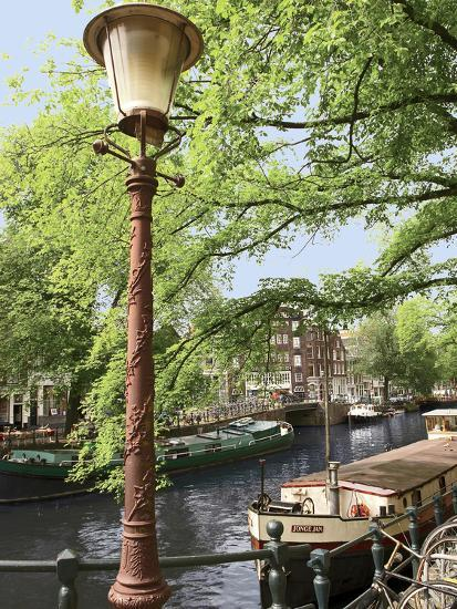 Old Gas Lamp Post and Bicycles on a Bridge over a Canal in Amsterdam, the Netherlands-Miva Stock-Photographic Print