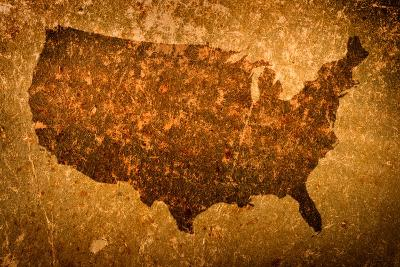 Old Grunge Map Of United States Of America-f9photos-Art Print