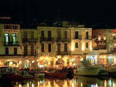 Old Harbour at Night, Rethymnon, Crete, Greece-Peter Thompson-Photographic Print