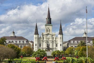 Old Horse Carts in Front of Jackson Square and the St. Louis Cathedral, New Orleans, Louisiana-Michael Runkel-Photographic Print
