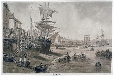 Old Houses and Boats on the Riverbank at Low Tide, Greenwich, London, C1823--Giclee Print