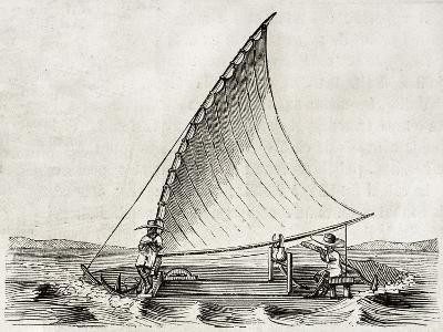 Old Illustration Of A Jangada, Traditional Fishing Boat Used In Northern Region Of Brazil-marzolino-Art Print
