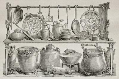 Old Illustration Of Bronze Pottery And Kitchen Utensils Found In Pompeii  Art Print By Marzolino | Art.com