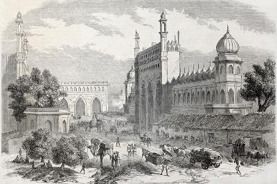 Old Illustration Of Main Street In Lucknow, India-marzolino-Art Print