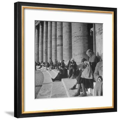 Old Italian Women Knitting While They Socialize in the Colonade of St. Peter's Square, Vatican City-Margaret Bourke-White-Framed Premium Photographic Print