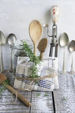 Old Kitchen Utensils: Spoons, Beater, Wooden Spoon And Linen Dish Towel  Photographic Print By Martina Schindler   Art.com