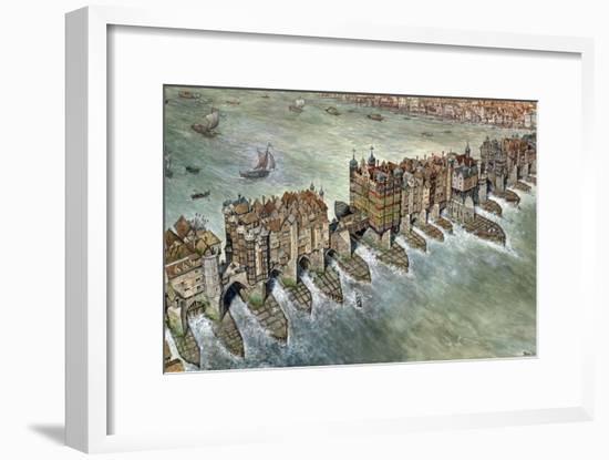 Old London Bridge, C 1600-Peter Jackson-Framed Premium Giclee Print