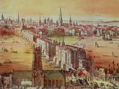 """Old London Bridge, Detail from """"Vischer's London,"""" 17th Century-Nicholas Visscher-Premium Giclee Print"""