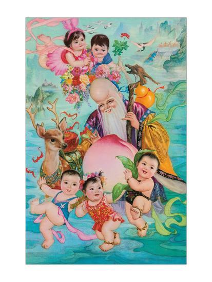 Old Man and Five Babies--Giclee Print