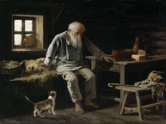 Old Man and his Cat, 1887-Ivan Andreivich Pelevin-Giclee Print