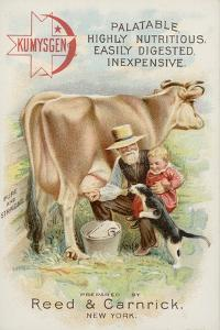 Old Man Milking Cow, with Child and Cat