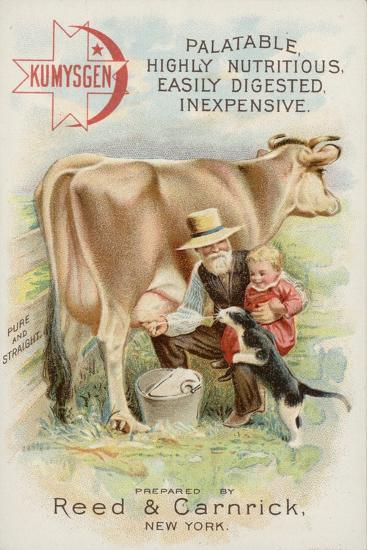 Old Man Milking Cow, with Child and Cat--Giclee Print