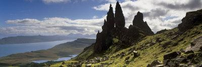 Old Man of Storr, Loch Leathan and Raasay Sound, Trotternish, Isle of Skye, Scotland-Patrick Dieudonne-Photographic Print