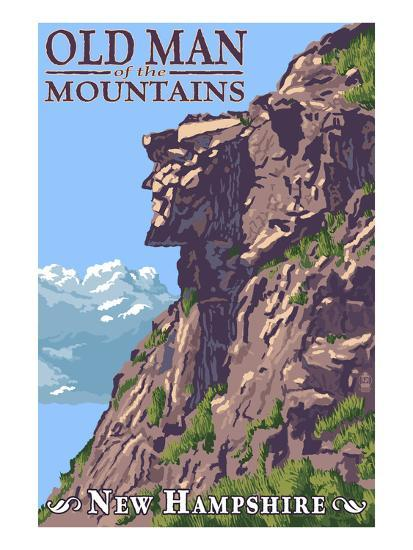 Old Man of the Mountains - New Hampshire-Lantern Press-Art Print