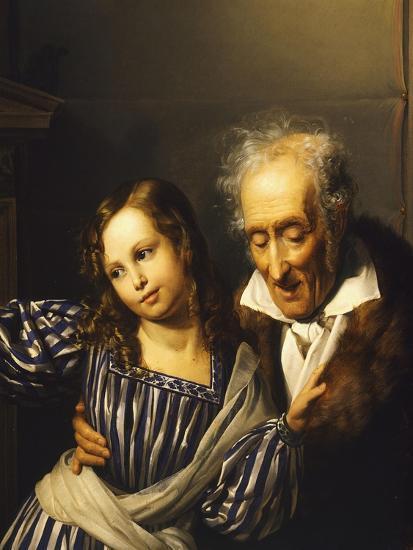 Old Man Pointing Out Maria Luigia's Herm to His Granddaughter, Circa 1830-Giuseppe Moricci-Giclee Print