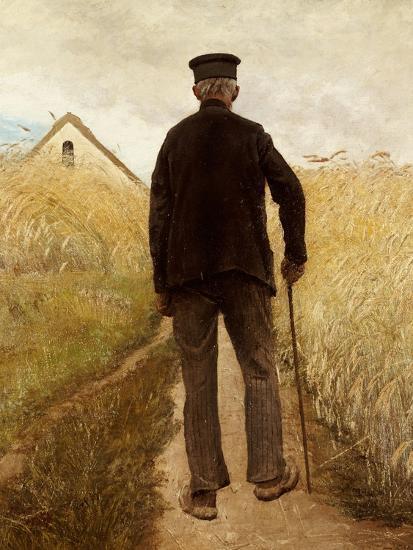 Old Man Walking in a Rye Field-Laurits Andersen Ring-Giclee Print