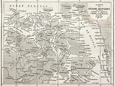 Old Map Of Arctic Region Of Sir John Franklin Northwest Passage Exploration-marzolino-Art Print