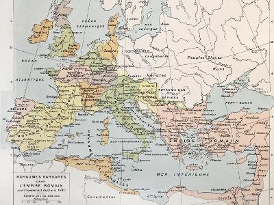 Old Map Of Barbarian Kingdoms Before Clovis I-marzolino-Art Print