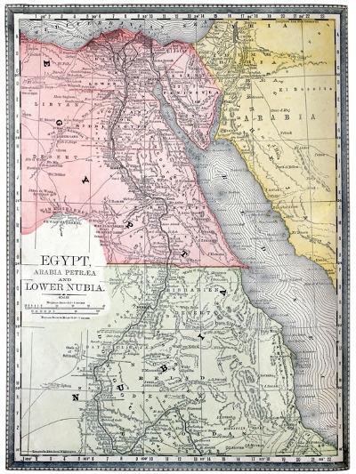 Old Map Of Egypt-Tektite-Art Print
