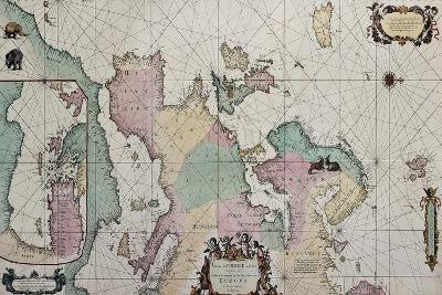 Old Map Of Europe With Eastern Mediterranean Insert Map-marzolino-Art Print