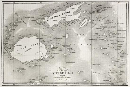 Old Map Of Fiji Islands-marzolino-Premium Giclee Print