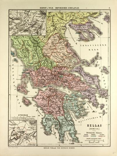 Old Map of Greece--Giclee Print