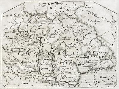 Old Map Of Hungary. By Unidentified Author, Published On Magasin Pittoresque, Paris, 1850-marzolino-Art Print