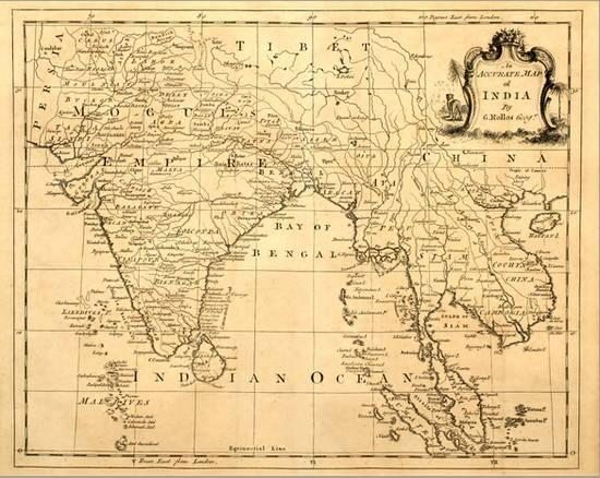 Old Map Of India Printed 1750 Stretched Canvas Print By Tektite