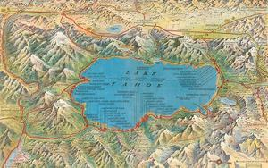 Old Map of Lake Tahoe Area
