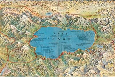 image about Printable Map of Lake Tahoe named Previous Map of Lake Tahoe Nearby Stretched Canvas Print as a result of