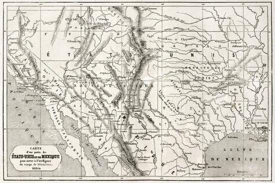 Old Map Of Northern Mexico And South-Western Usa Art Print by ...