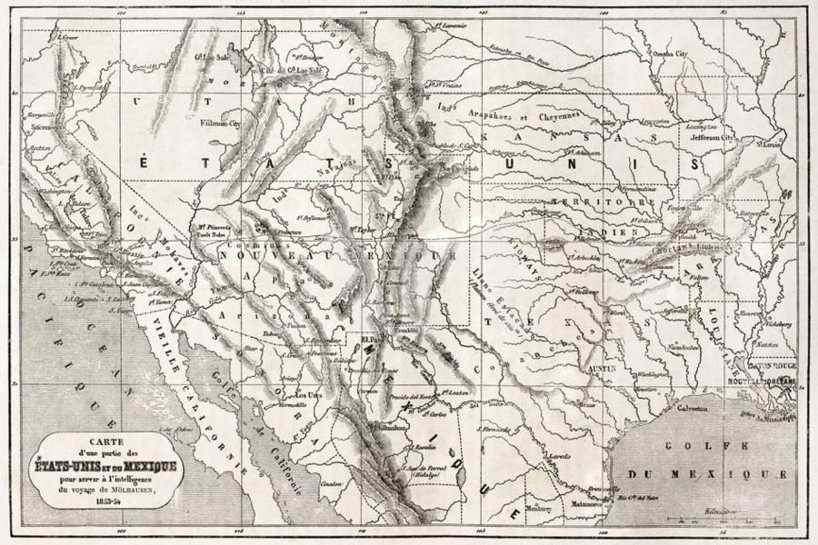 Old Map Of Northern Mexico And South-Western Usa Art Print by marzolino |  Art.com