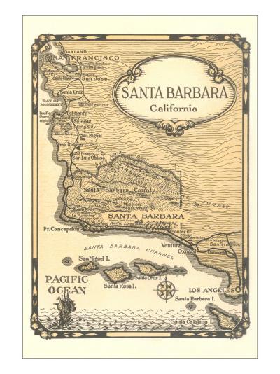 Old Map of Santa Barbara, California--Art Print