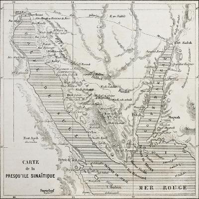 Old Map Of Sinai Peninsula. Created By Erhard, Published On Le Tour Du Monde, Paris, 1864-marzolino-Art Print