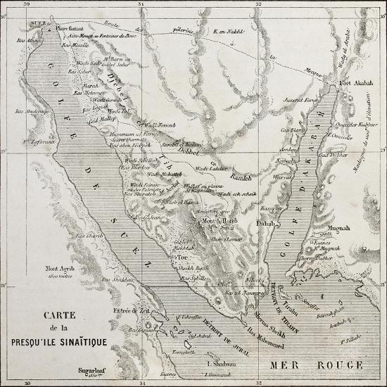 Old Map Of Sinai Peninsula  Created By Erhard, Published On Le Tour Du  Monde, Paris, 1864 Art Print by marzolino | Art com
