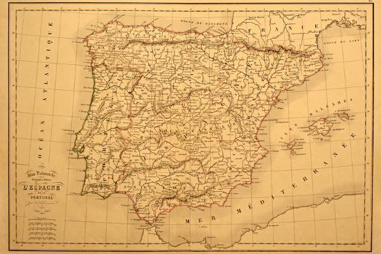 Map Of Spain Old.Old Map Of Spain And Portugal Art Print By Tektite Art Com