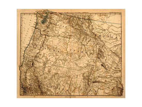 Old Map Of The Us Pacific Northwest Art Print by Tektite | Art.com