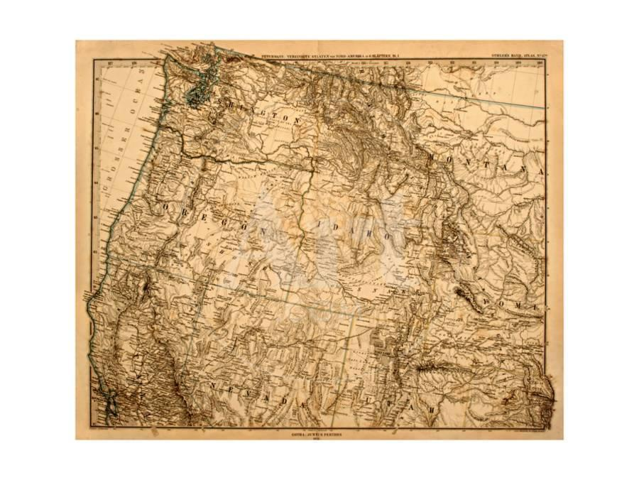 Old Map Of The Us Pacific Northwest Art Print By Tektite Artcom - Old-map-of-us