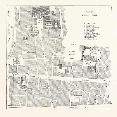 Old Map of the Ward of Cheap About 1750 London--Giclee Print