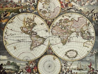 Old Map Of World Hemispheres. Created By Frederick De Wit, Published In Amsterdam, 1668-marzolino-Art Print
