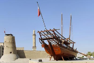 Old Merchant Ship in Front of Dubai Museum, Deira, Dubai, United Arab Emirates-Axel Schmies-Photographic Print