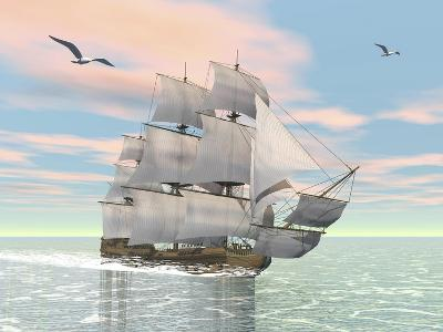 Old Merchant Ship Sailing in the Ocean with Seagulls Above--Art Print
