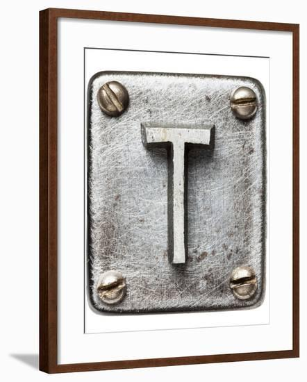 Old Metal Alphabet Letter T-donatas1205-Framed Art Print