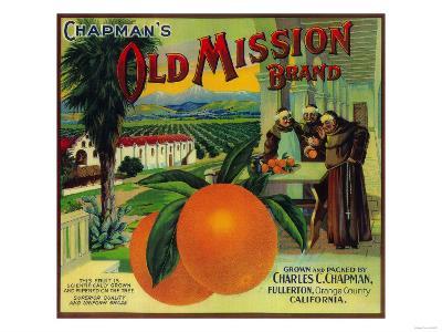 Old Mission Orange Label - Fullerton, CA-Lantern Press-Art Print
