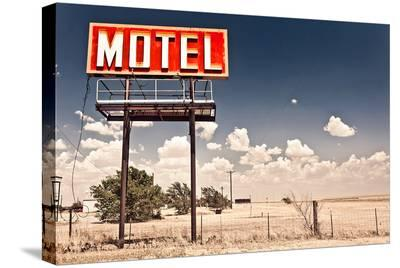 Old Motel Sign On Route 66 USA--Stretched Canvas Print