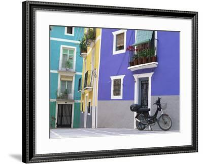 Old Motorcycle Outside a Purple Painted House in Villajoyosa, in Valencia, Spain, Europe-Mawson Mark-Framed Photographic Print