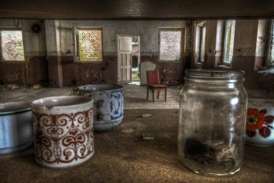 Old Mugs in Abandoned Interior-Nathan Wright-Photographic Print